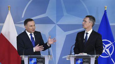 Le président polonais Andrzej Duda rencontrait ce lundi à Bruxelles le secrétaire général de l'Otan, Jens Stoltenberg.