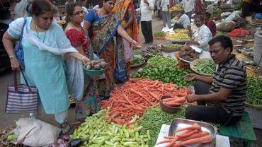 Sur un marché en Inde