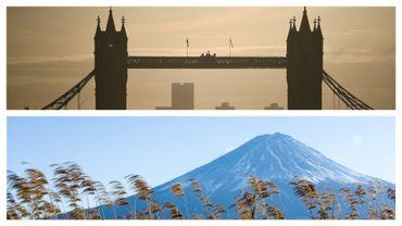 Tower Bridge à Londres et Mont Fuji, près de Tokyo, au Japon