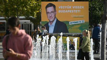 Une affiche électorale de Gergely Karacsony, le candidat des partis d'opposition pour les municipales, le 9 octobre 2019 à Budapest, en Hongrie