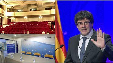 Le Résidence Palace (en haut à g.), le Brussels Press Club (en bas à g.) et Carles Puigdemont.