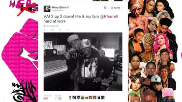 Missy Elliott aux côtés de Pharrell Williams, en studio