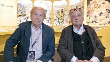 """Le dessinateur Jean-Claude Mézières (à gauche) et le scénariste Pierre Christin, les créateurs de """"Valérian et Laureline"""""""