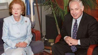 Margaret Thatcher, le 26 août 1998, avec le Premier ministre israélien, Benjamin Netanyahu
