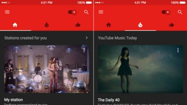 L'application YouTube Music sous iOS