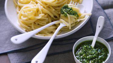 Pesto de cresson et linguine - © Recette : AnneCé Bretin