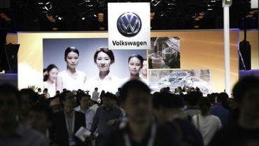 Le stand Volkswagen au Salon de l'automobile de Pékin, le 25 avril 2016