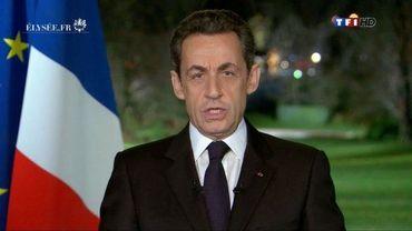 Le président Nicolas Sarkozy adresses ses voeux sur TF1 le 31 décembre 2011