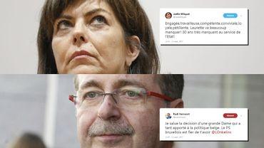 Joëlle Milquet (cdH) et Rudi Vervoort (PS) ont rapidement réagi à l'annonce via Twitter.