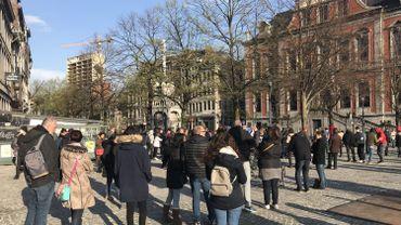 """Liège: Manifestation du collectif """"Même pas peur"""" sur la place du Marché"""