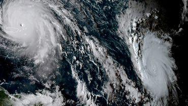 Image satellitaire de cyclones Irma er Jose fournie par l'Administration océanique et atmosphétique nationale des Etats-Unis, le 6 septembre 2017