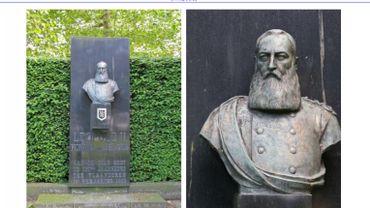 Le buste est installé dans un parc.