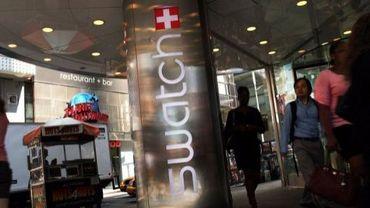 Vue de l'extérieur du magasin Swatch de Times Square, à New York, le 12 septembre 2011