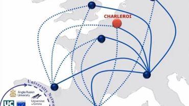 Les différentes villes partenaires situées sur une carte