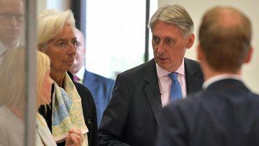 Le ministre britannique des Finances Philip Hammond et la directrice générale du FMI Christine Lagarde à Londres le 17 septembre 2018