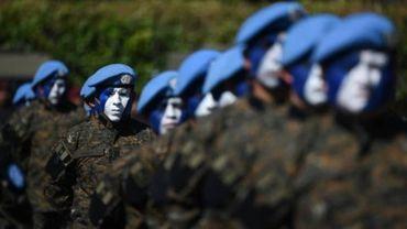 Des soldats guatémaltèques pendant une cérémonie à Campo Marte à Guatemala, le 15 janvier 2016.