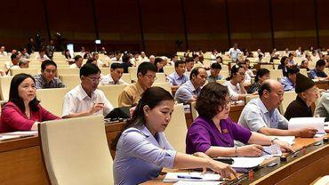 Des membres du parlement au Vietnam votent une loi sur la cynersécurité qui va restreindre les libertés sur les réseaux sociaux le 12 juin 2018