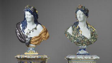 Le Printemps et l'Automne, de la série des Bustes des Quatre Saisons. Rouen, fabrique de Nicolas Fouquay, vers 1730