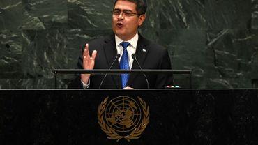 Le président hondurien Juan Orlando Hernandez à la tribune de l'Assemblée générale des Nations unies, le 25 septembre 2019