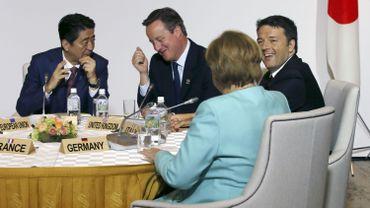 Shinzo Abe, David Cameron, Matteo Renzi et Angela Merkel