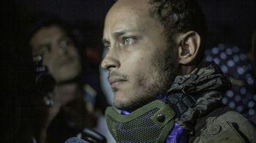 Oscar Pérez lors d'une manifestation contre le gouvernement à Caracas, le 13 juillet 2017 au Venezuela