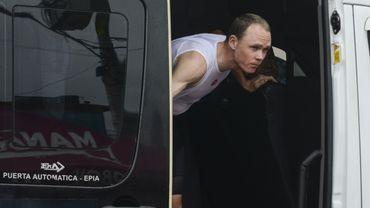 Chris Froome dans le bus Sky sur le Tour de Colombie