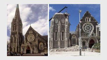Montage de deux photos de la cathédrale de Christchurch en novembre 1995  et le 24 février 2011