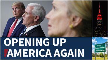 """Donald Trump, son vice-président Mike Pence et Deborah Birx, en charge de la cellule de crise de la Maison Blanche lors de la présentation du plan de déconfinement """"Opening Up AMerica Again""""."""