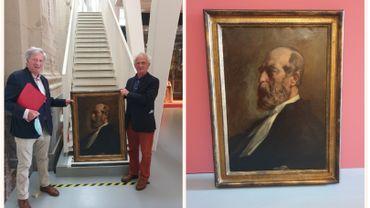Les deux frères Francart à côté du portrait de leur aïeul (à gauche).  Le portrait d'Adolphe Francart signé Antoine Bourlard (à droite)