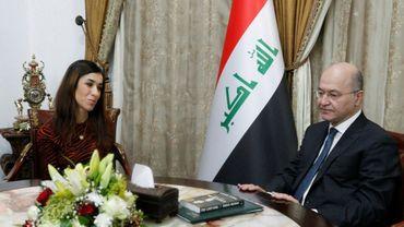 Le président irakien Barham Saleh recevant à Bagdad la Nobel de paix Nadia Murad le 12 décembre 2018
