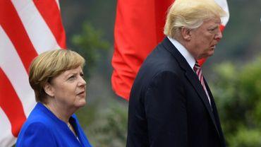 La chancelière allemande Angela Merkel et le président américain Donald Trump, le 26 mai 2017 à Taormina, en Sicile