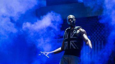 Le rappeur britannique Stormzy, de son vrai nom Michael Omari Owuo Jr, sur scène à l'occasion du festival de musique Glastonbury le 28 juin 2019.