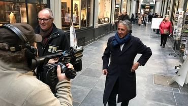 Tournage avec Richard Anconina et Alec Mansion dans les Galeries de la Reine à Bruxelles