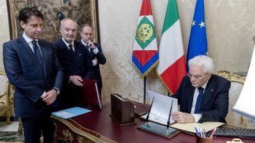 Giuseppe Conte avec le président Sergio Mattarella