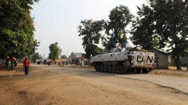Un blindé de la Monusco, à Kiwanja, une ville située au nord de Goma contrôlée par les rebelles du M23, le 4 août 2013