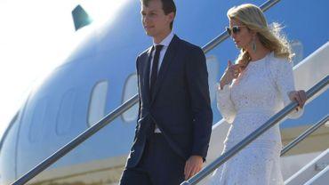 Ivanka Trump, la fille du président Donald Trump, et son mari Jared Kushner, conseiller du président, à leur arrivée à l'aéroport de Rome, le 23 mai 2017