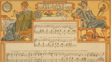 'My Lady Greensleeves' de la seconde édition de from the second edition of 'Pan-Pipes: A Book of Old Songs', illustré par Walter Crane, avec des arrangements de Theodore Marzials
