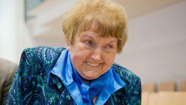 (ARCHIVES) Eva Mozes Kor, survivante des camps de la mort et fondatrice d'un musée du souvenir aux Etats-Unis, le 1 avril 2015 au cours du procès d'un ancien officier du camp d'Auschwitz, en Allemagne. Elle est décédée le 5 juillet 2019, à l'âge de 85 ans