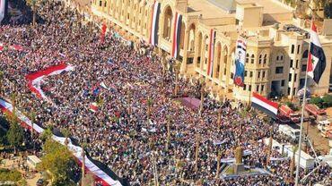 """Une photo de l'agence officielle de presse syrienne montre un rassemblement de """"fidèles"""" au président Bachar-al-Assad"""