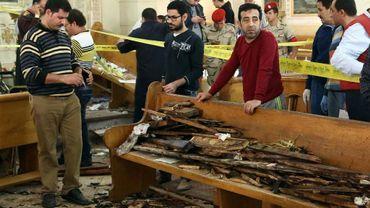 Une église copte touchée par un attentat kamikaze, le 9 avril 2017 à Tanta, à 120 km au nord du Caire en Egypte