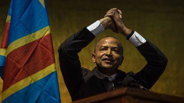 """Moïse Katumbi lors de son conclave à Johannesburg, en Afrique du Sud, le 12 mars 2018 en présence de 200 militants congolais. Il a lancé son parti politique """"Ensemble pour le changement""""."""