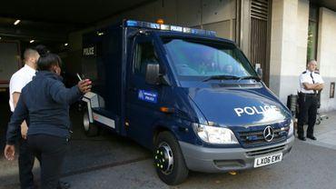 Un fourgon de police transportant Ahmed Hassan, auteur présumé de l'attentat de la station de métro Parsons Green à Londres à Londres, le 22 septembre 2017