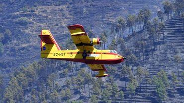 Un Canadair survolent des collines brûlées près du village d'Alijo au nord du Portugal, le 18 juillet 2017