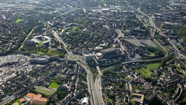 Vue aérienne du ring de Charleroi bientôt en travaux et pour longtemps