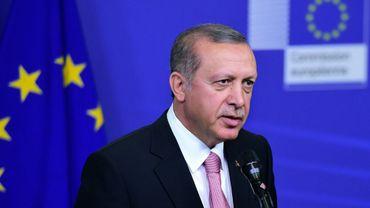 Le président turc Recep Tayyip Erdogan lors d'une précédente visite à la Commission européenne, le 5 octobre 2015