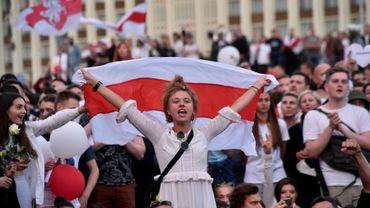Manifestation contre le président Alexandre Loukachenko à Minsk, le 14 août 2020