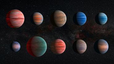 Impression d'artiste des dix exoplanètes chaudes de Jupiter fournie par l'ESA et la NASA, le 9 décembre 2015