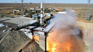 Décollage de la fusée Soyouz MS-10 depuis le cosmodrome de Baïkanour, le 11 octobre 2018 au Kazakhstan
