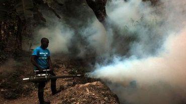Un employé du ministère de la Santé tente d'exterminer les moustiques, porteurs de chikungunya, dengue et malaria  à Port-au-Prince à Haiti le 21 mai 2014