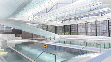 Vue d'architectes de l'intérieur de la future piscine